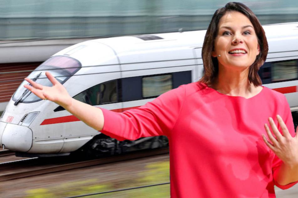 Grünen-Chefin Annalena Baerbock (37) brauste durch den Bahnhof Berlin-Spandau – ihre Kinder standen draußen. (Bildmontage)