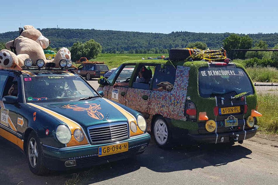 Ein echter Hingucker: Eines der Fahrzeuge war sogar mit Kunstrasen überklebt.