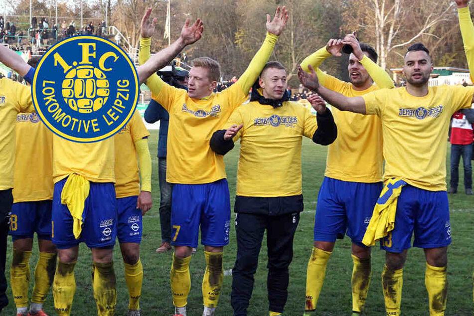 Die Spieler des 1. FC Lok Leipzig hatten am Sonntag Grund zum Jubeln: Sie holten den Sieg gegen den Bischofswerdaer FV 08.