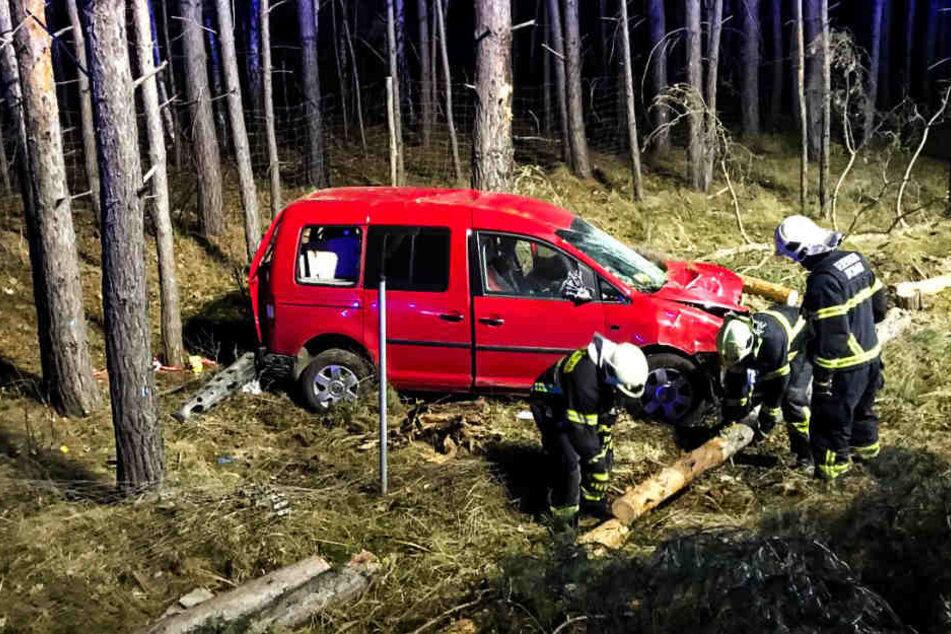 Ein 39 Jahre alter Mann kam in der Nacht zu Dienstag von der A115 ab und krachte gegen mehrere Bäume.