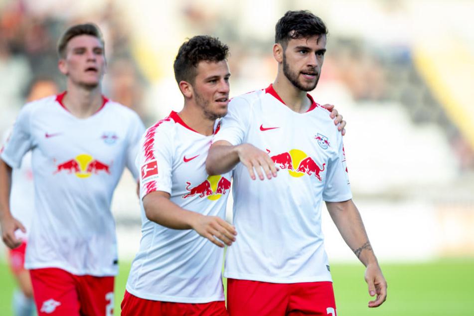 Wollen auch Uni Craiova aus dem Weg räumen: A-Jugendspieler Niclas Stierlin, Diego Demme und Massimo Bruno von RB Leipzig (v.l.n.r.).