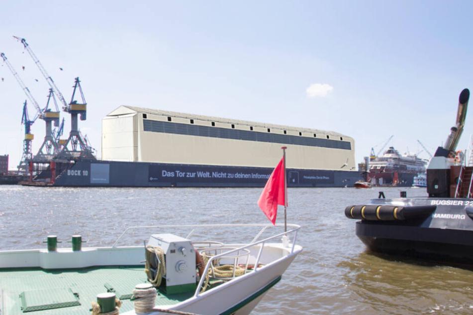 So soll die geplante Überdachung von Dock 10 bei Blohm+Voss im Hamburger Hafen aussehen.