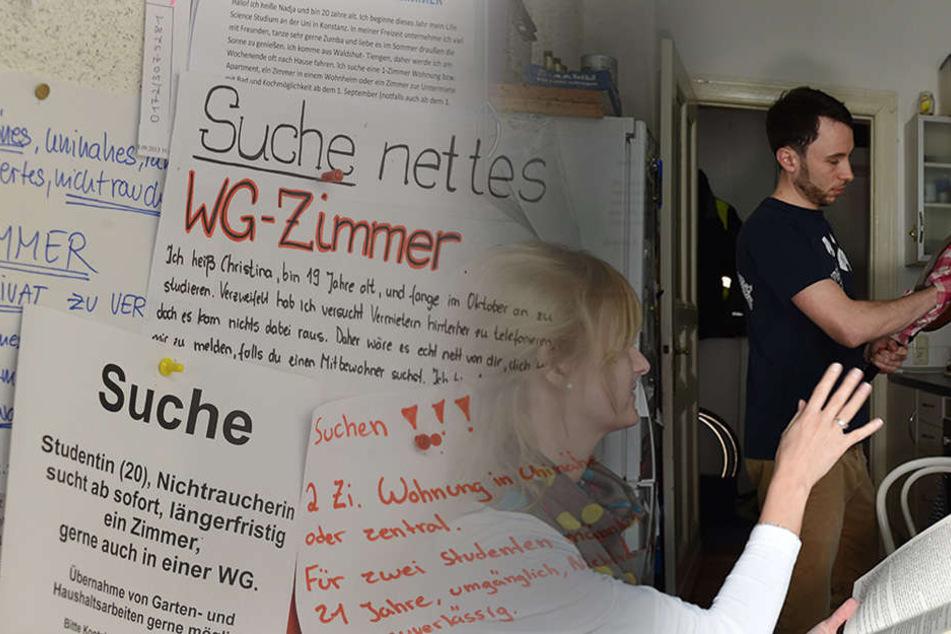 Die lästige Suche nach einem WG-Zimmer gestaltet sich nicht nur in Berlin schwierig. (Bildmontage)