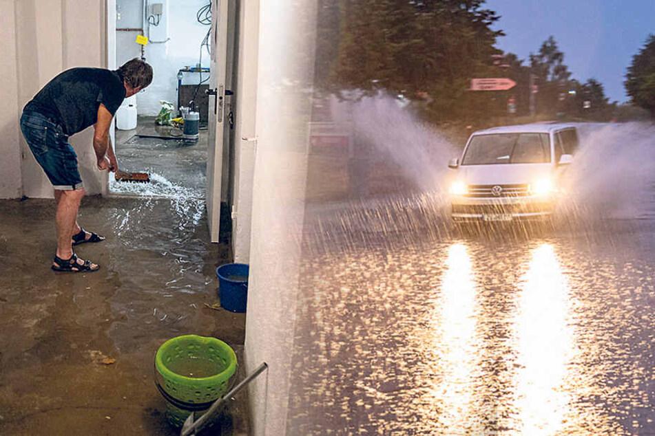 Keller und Straßen unter Wasser: Schwere Unwetter in der Lausitz