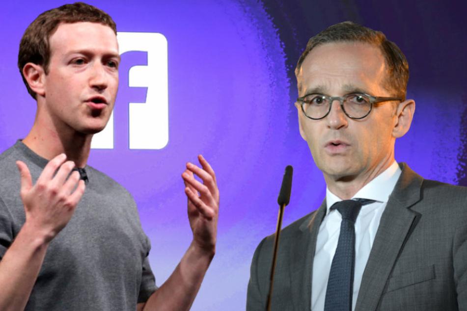 Bundesaußenminister Heiko Maas (51, SPD) geht Facebook-Boss Mark Zuckerberg (34) verbal hart an. (Bildmontage)