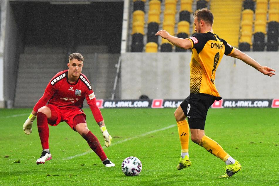 Pascal Sohm (29) sicherte Dynamo Dresden das erste Tor gegen Bischofswerda.
