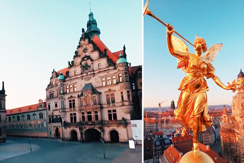 Durch die historische Dresdner Altstadt steuerte ein Drohnenpilot seine Gerätschaft im morgendlichen Licht.