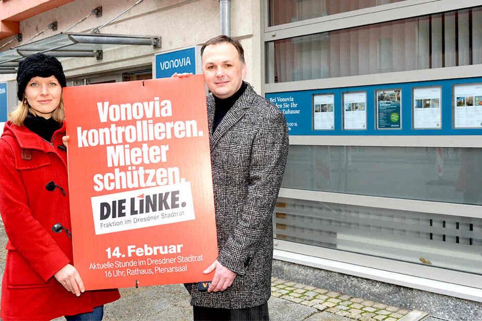 Haben die Vonovia im Visier: Linken-Chef André Schollbach (40) und Stadträtin Pia Barkow (33, Linke).