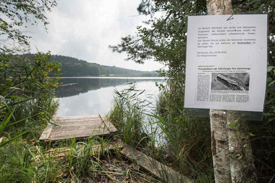 Mit Hinweisschildern wurde über die vor zwei Wochen von Fischern im Siferlinger See gesichtete Anakonda informiert.