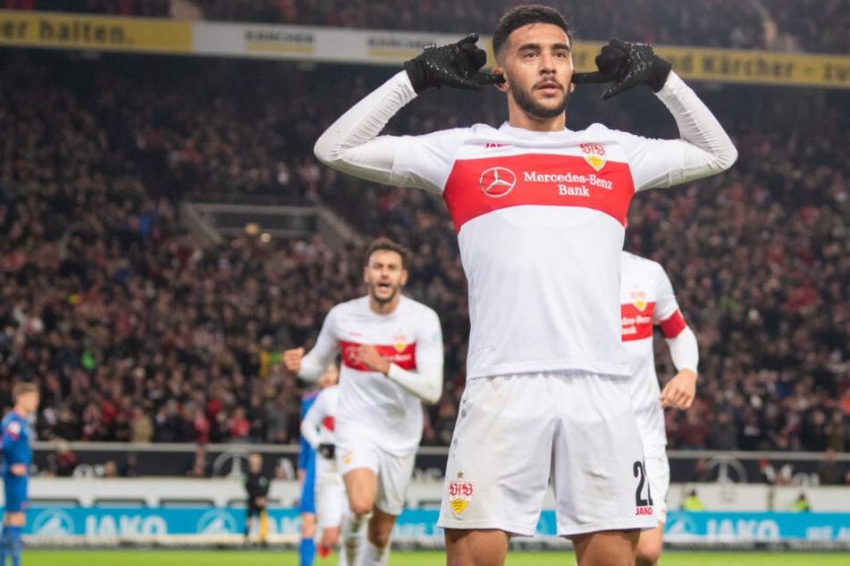 Nicolas Gonzalez bejubelt seinen Treffer beim 3:0-Sieg gegen den 1. FC Heidenheim.