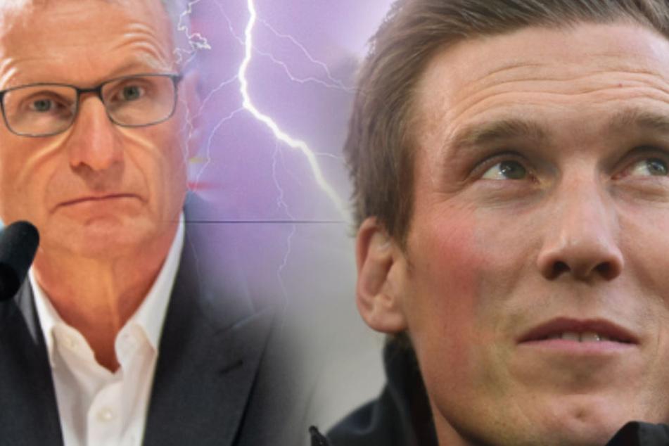 Ex-VfB-Coach Hannes Wolf (r.) kritisiert VfB und Sportvorstand Michael Reschke (l.) für Umgang mit Tayfun Korkut (44). (Fotomontage)