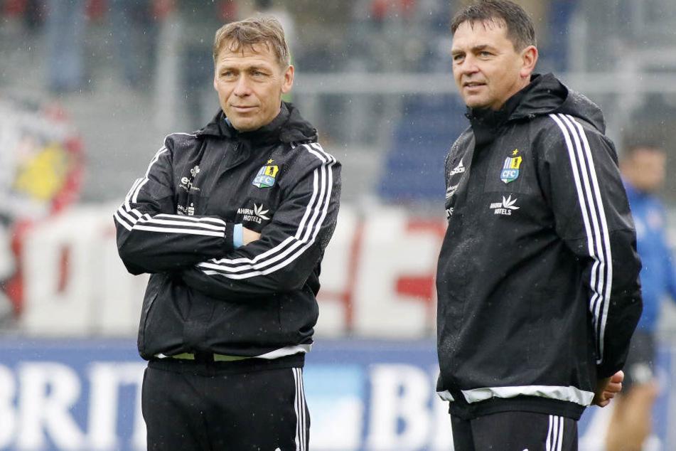 Sven Köhler und Co-Trainer Ulf Mehlhorn waren mit ihren Spielern zufrieden.