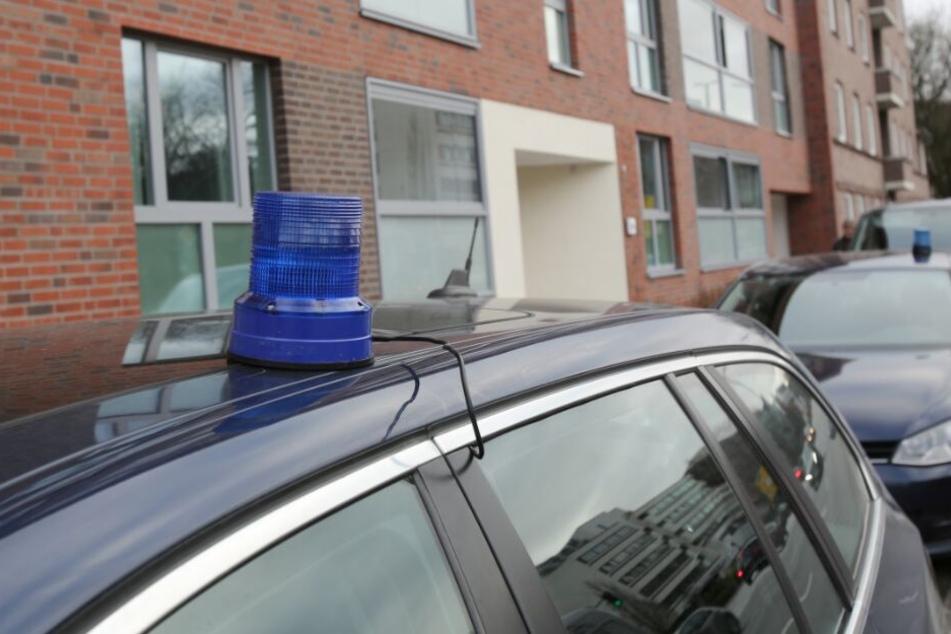 Polizeifahrzeuge stehen während einer Durchsuchung vor einem Mehrfamilienhaus in Hamburg.