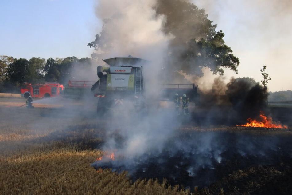 Der Mähdrescher hatte am Freitagabend Feuer gefangen.
