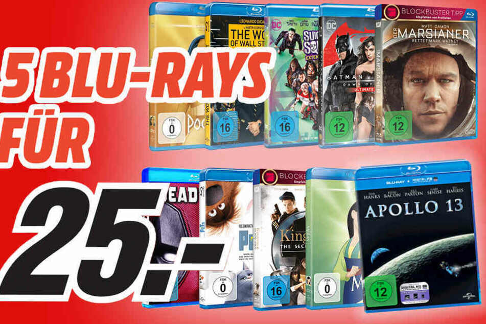 Wählt aus dem großen Sortiment fünf Blu-Rays und zahlt nur 25 Euro!