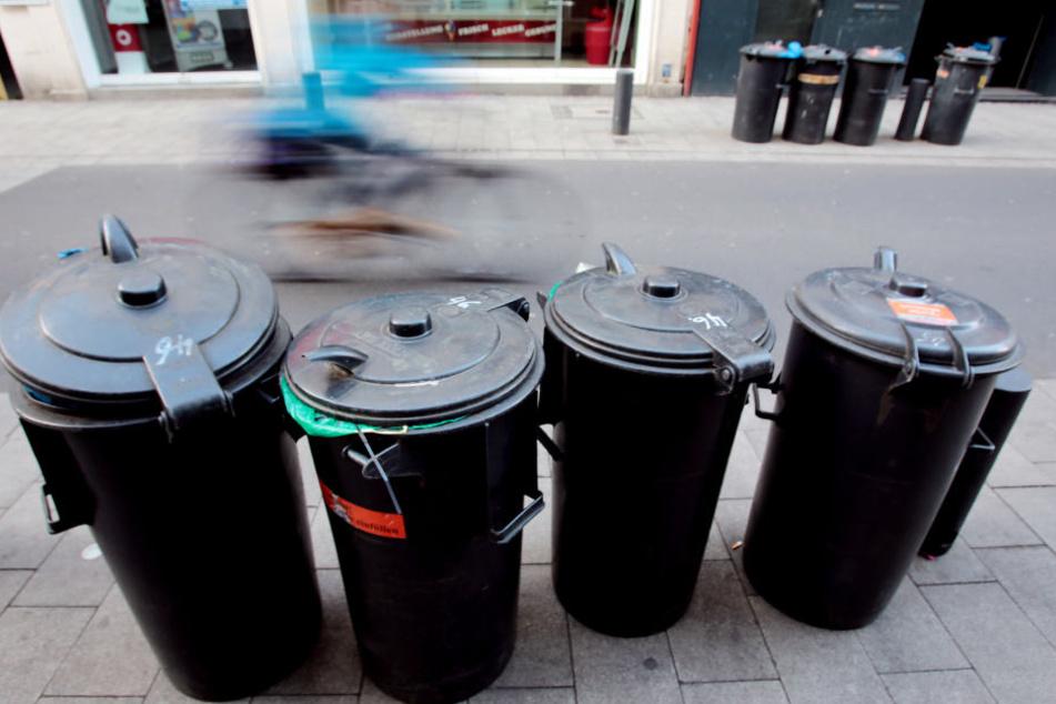 Mülltonnen stehen am Straßenrand.