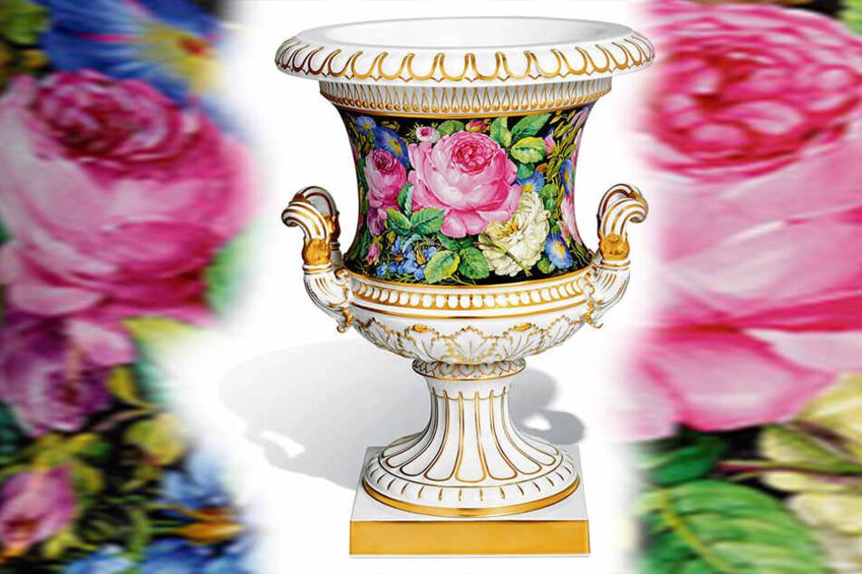 """Die Kratervase """"Blumenmalerei"""" wird besonders nach Taiwan exportiert."""