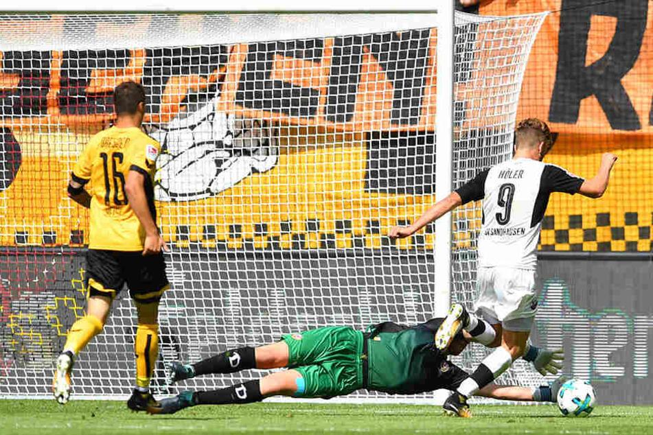 Philip Heise sah bei mehren Gegentoren im Sandhausen-Spiel schlecht aus. Er fordert, dass Dynamo Ruhe bewahren muss.
