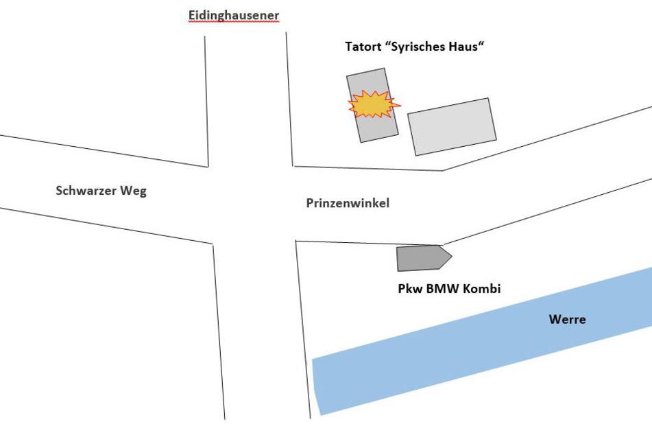 Die Zeichnung soll den Tatort darstellen und zeigen, an welchem Ort der dunkle BMW Kombi stand.