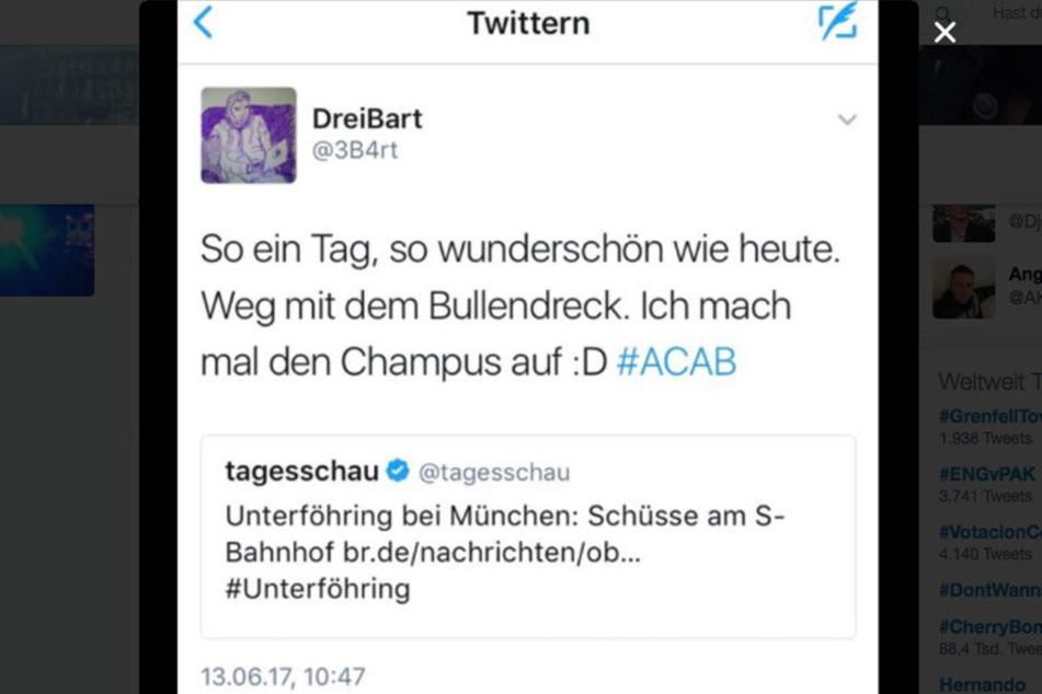 """Weg mit dem Bullendreck"", twitterte Thomas Goede."