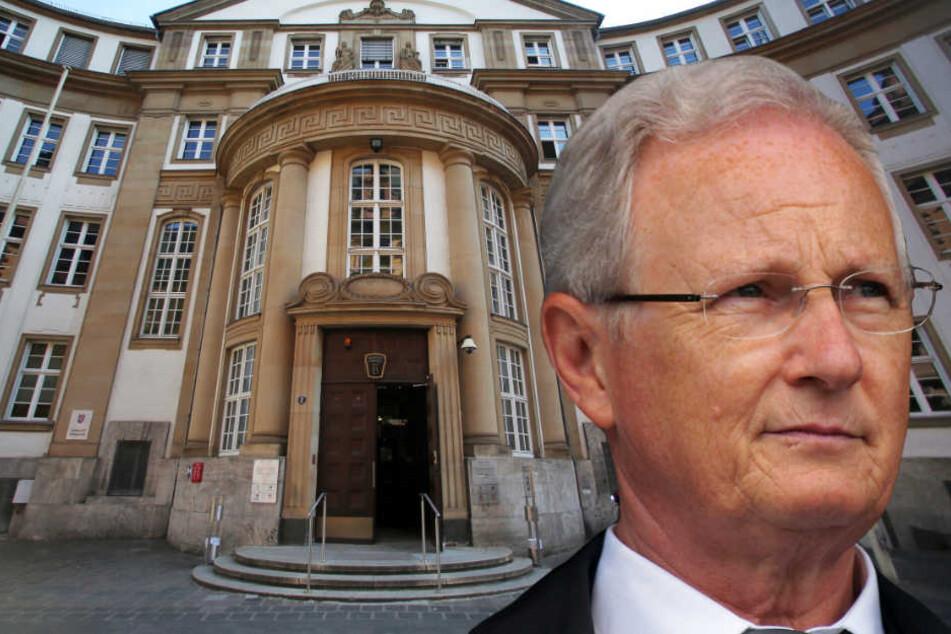 Die Fotomontage zeigt Mathias Geiger (FDP), den Bürgermeister von Eschborn, vor dem Landgericht Frankfurt.