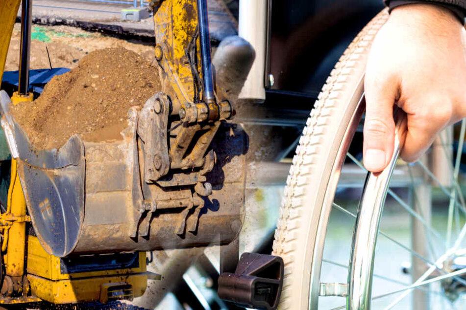 Weil Sicherung entfernt wurde: Rollstuhlfahrer stürzt in Baugrube!