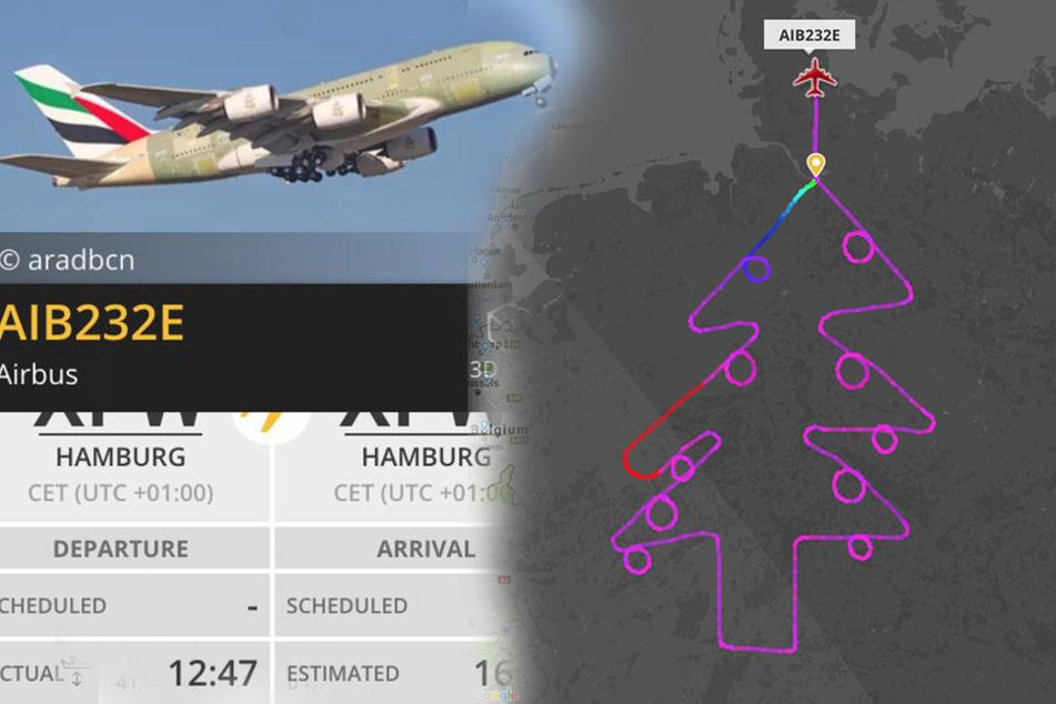 Airbus fliegt gigantischen Weihnachtsbaum über Deutschland