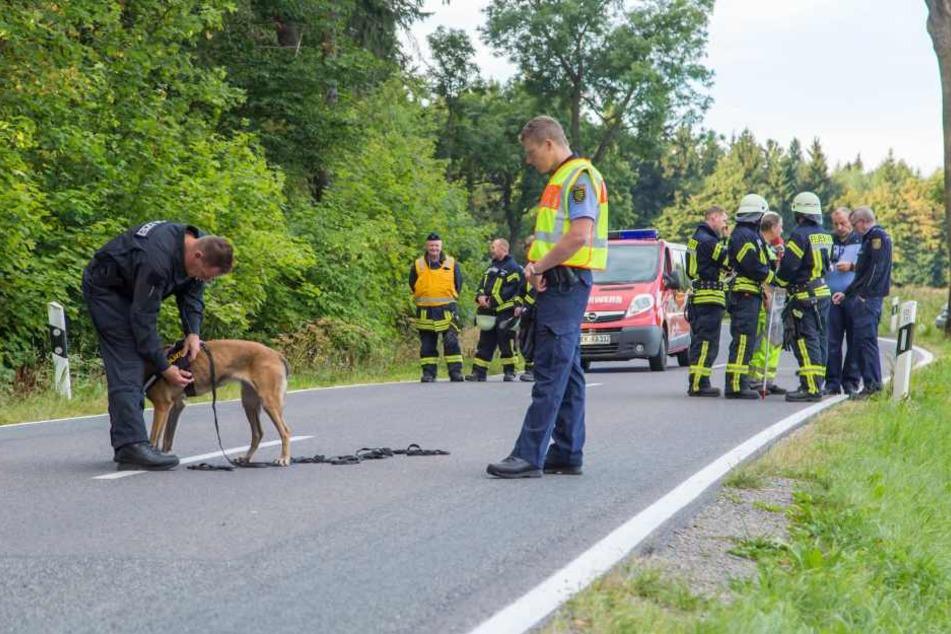 Für die Suche nach dem Fahrer wurde auch ein Fährtenhund eingesetzt.