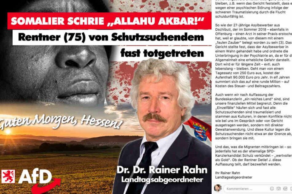 Der Facebook-Screenshot zeigt den Post von Rainer Rahn mit den im Text wörtlich zitierten Passagen.