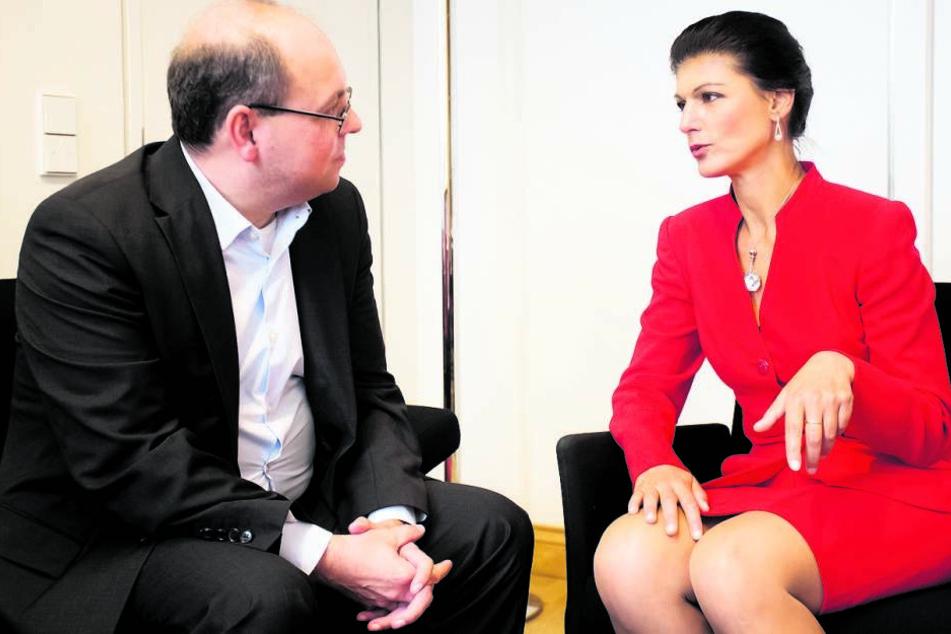 Im Jakob-Kaiser-Haus in Berlin: Sahra Wagenknecht im Gespräch mit  Morgenpost-Redakteur Thomas Schmitt.