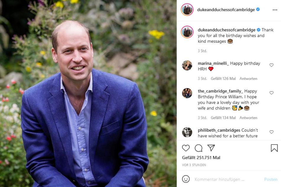 Zum Geburtstag bekam Prinz William (39) jede Menge Glückwünsche auf Instagram.