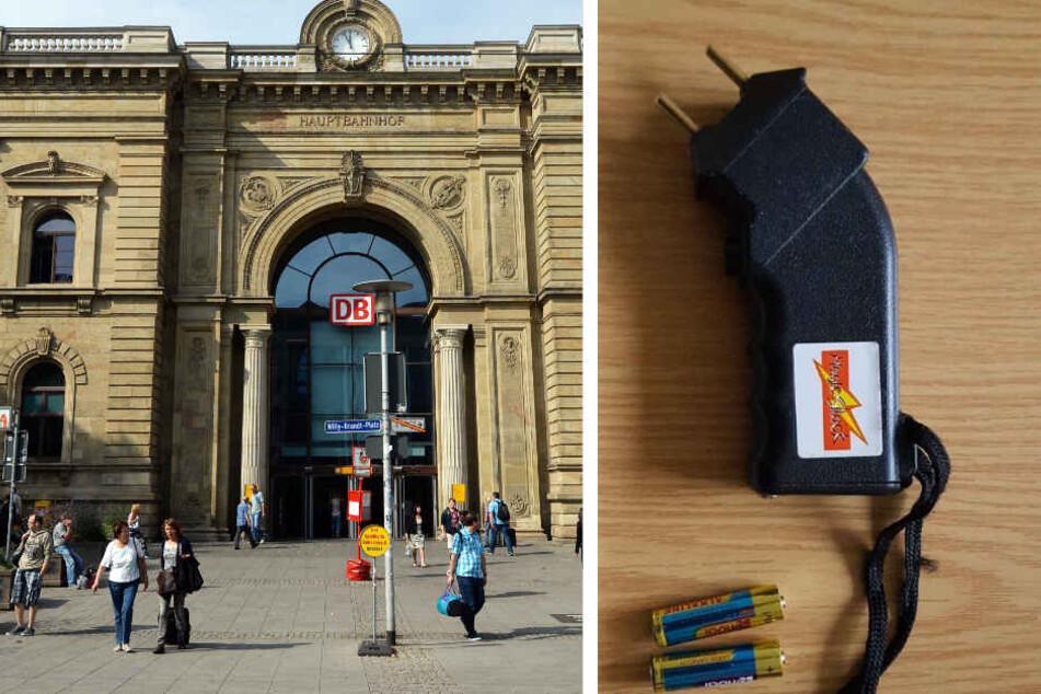 33-Jähriger läuft mit diesem Elektroschocker in der Hand durch den Bahnhof