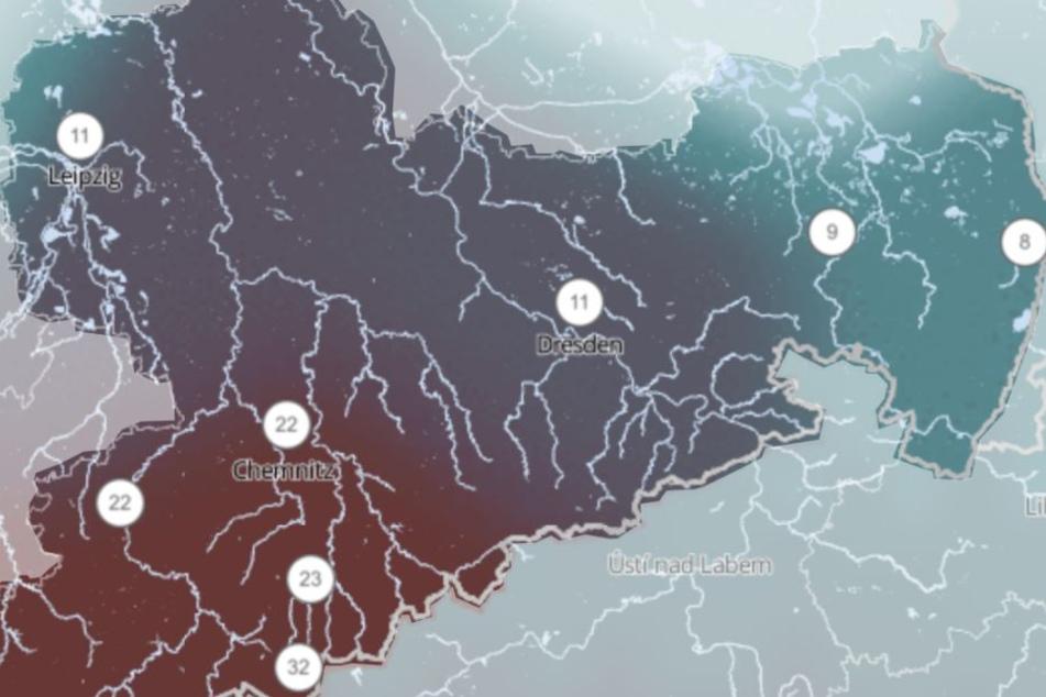 Vor allem in Südwestsachsen wird es am Samstag ordentlich schütten. Nord-, Mittel- und Ostsachsen bleiben dagegen weitestgehend verschont.