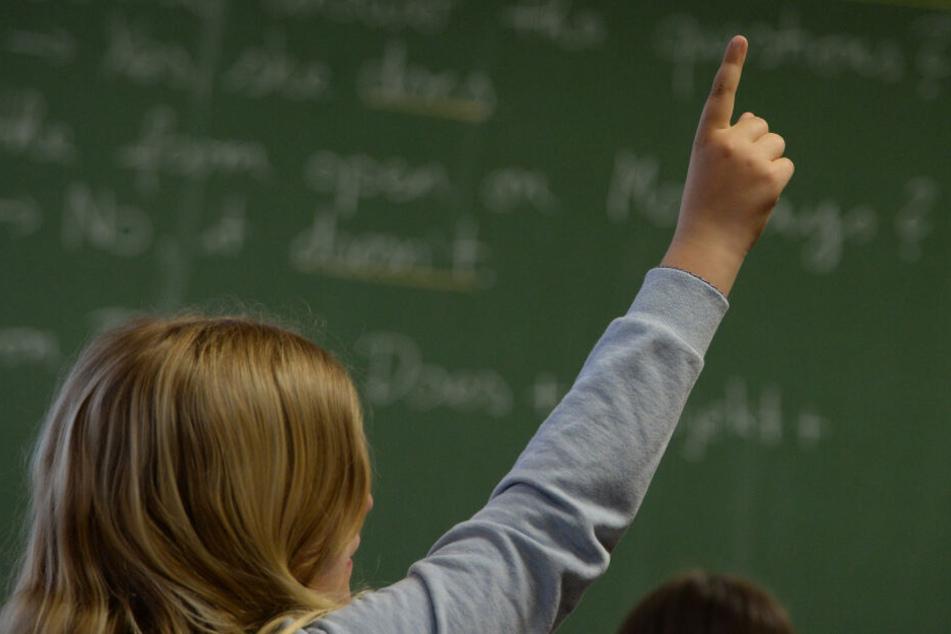 Ein Schüler hebt im Unterricht den Finger.