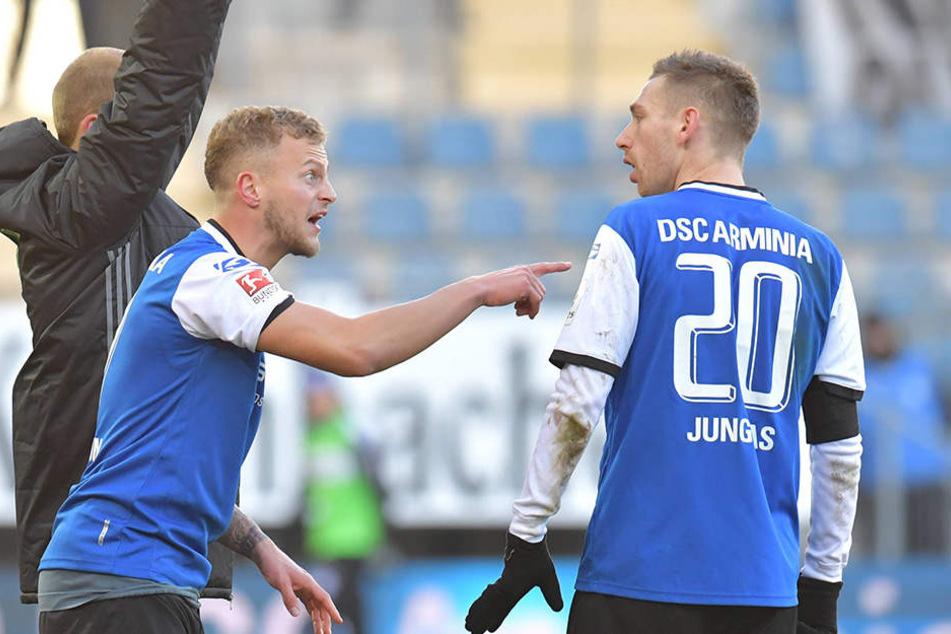Manuel Junglas (re.) kam in der Winterpause der Saison 2014/15 zur Arminia.