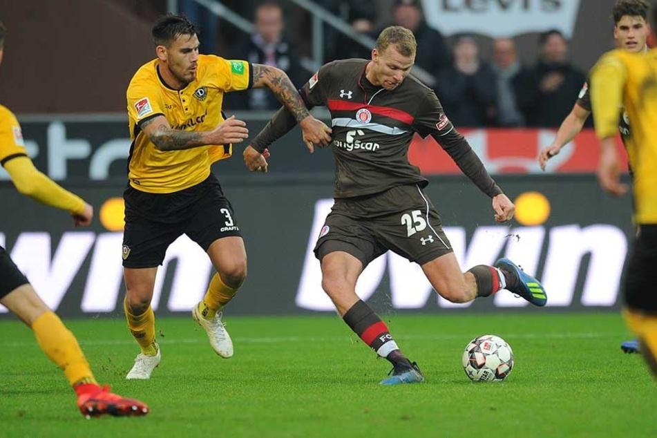 Kennen sich aus dem Effeff: Bereits zum siebten Mal trafen Dynamos Verteidiger Dario Dumic und Pauli-Angreifer Henk Veerman als Gegner aufeinander.