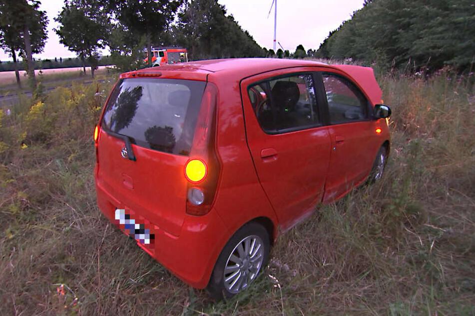 Dieser Daihatsu touchierte im Leipziger Norden nahe der Messe einen Baum, nachdem der Reifen platzte.