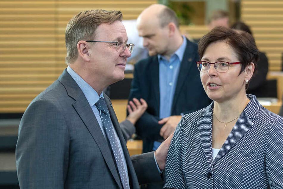 Ministerpräsident Bodo Ramelow (61, Linke) und Finanzministerin Heike Taubert (58, SPD).
