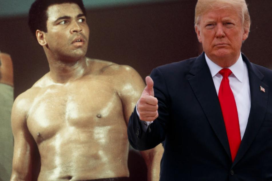 Donald Trump (r.) will nach eigener Aussage eventuell Muhammad Ali begnadigen.