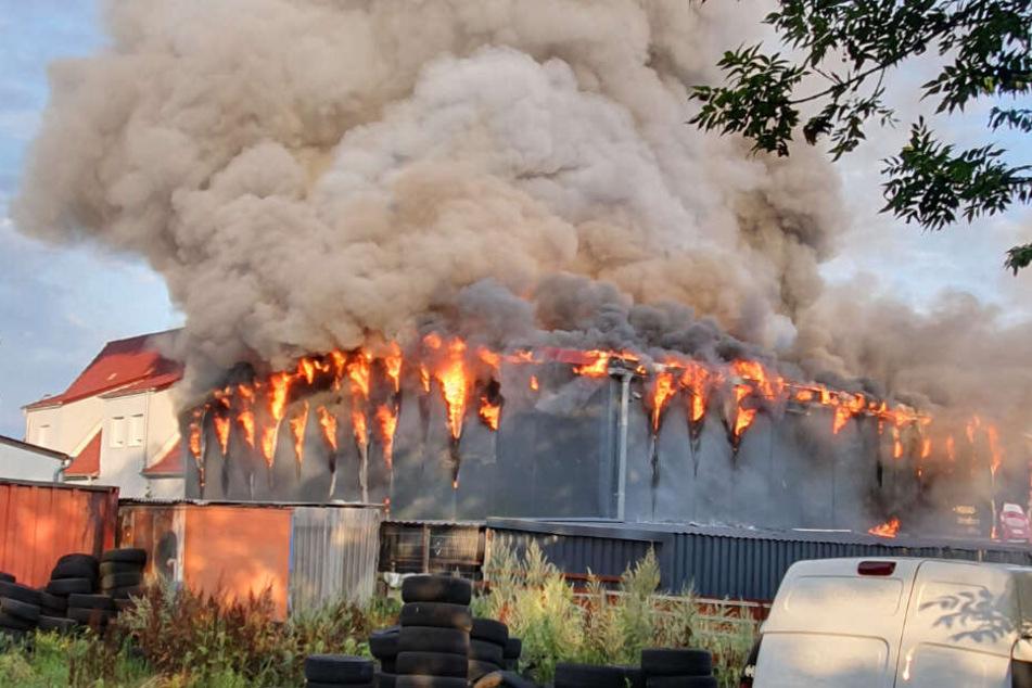 Meterhohe Flammen und riesige Rauchsäule: Was ist hier passiert?