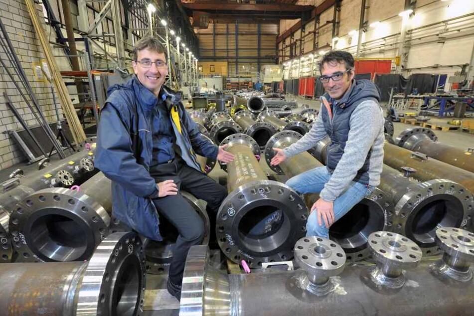 Seit zehn Jahren erfolgreich: die Astra Industrieanlagen GmbH, hier die  Geschäftsführer René Kunz (42, l.) und Stephen Larimore (44).