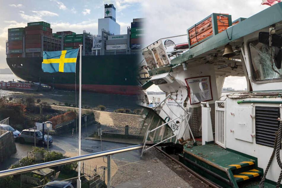 Hier drückt ein Containerschiff eine Fähre zu Schrott