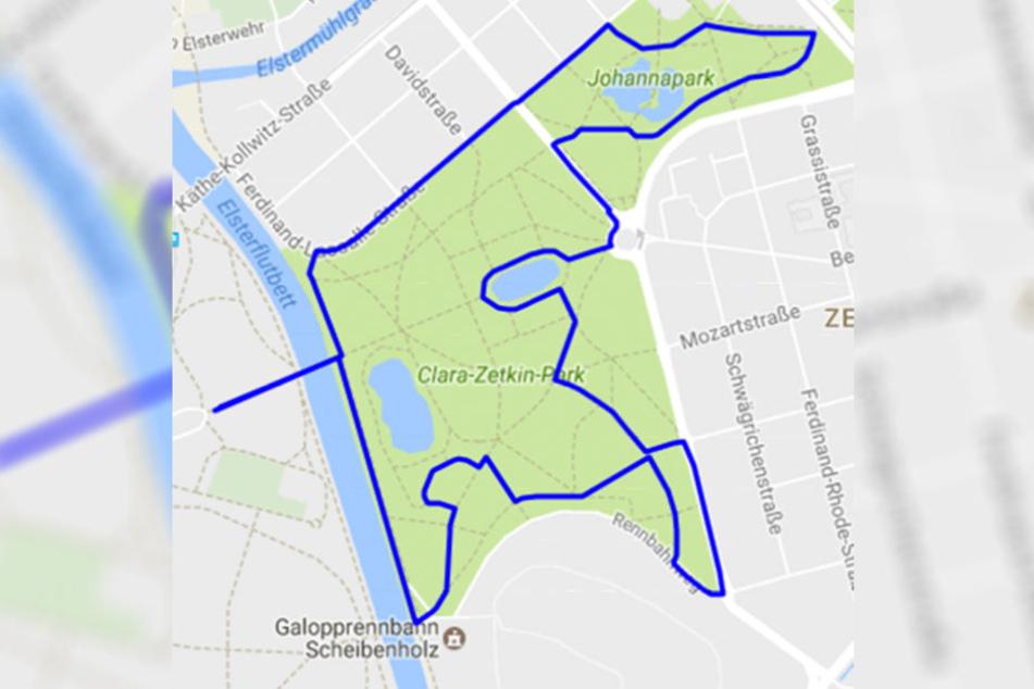 Die Strecke führt die Läuferinnen um den Clara-Zetkin-Park.
