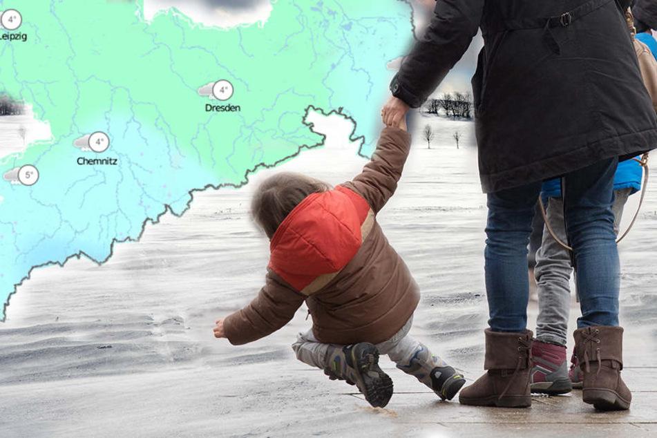 Der Deutsche Wetterdienst warnt vor glatten Straßen und Gehwegen wegen überfrierender Nässe in den Nächten. (Symbolbild)