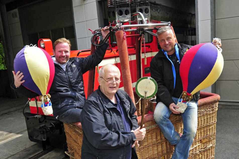 Rico Illgen (42), Matthias Dietel (63) und Jan Wagner (50) organisieren das 15. Ballonfest im Küchwald.