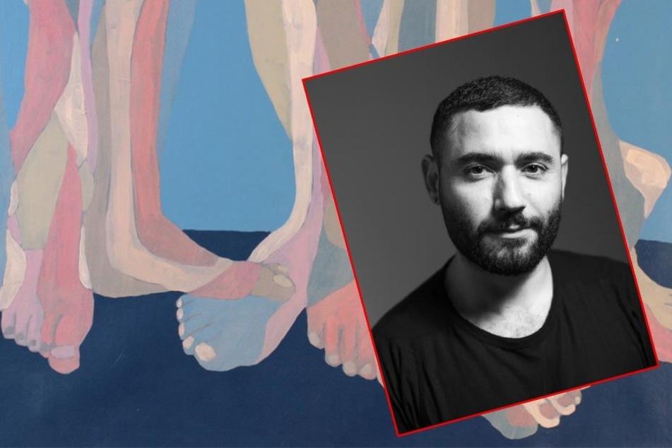 """Mazen Khaddaj (32) und sein Werk """"The Gathering"""", das im Rahmen der Ausstellung """"I am a Foreigner"""" zu sehen sein wird."""