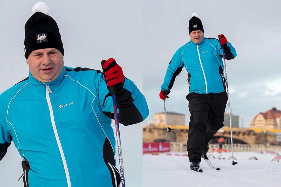 Mit Schwung läuft OB Dirk Hilbert (46) auf der Weltcup-Piste dem Ziel entgegen.