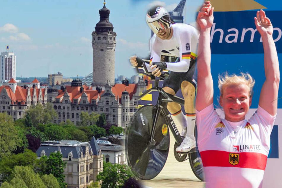 Sowohl die Sportler, als auch die Stadt sollen von dem neuen Konzept profitieren. Hier zu sehen Rad-U23-EM-Gewinner Felix Groß und Ruder-Olympia-Siegerin Annekatrin Thiele. (Bildmontage)