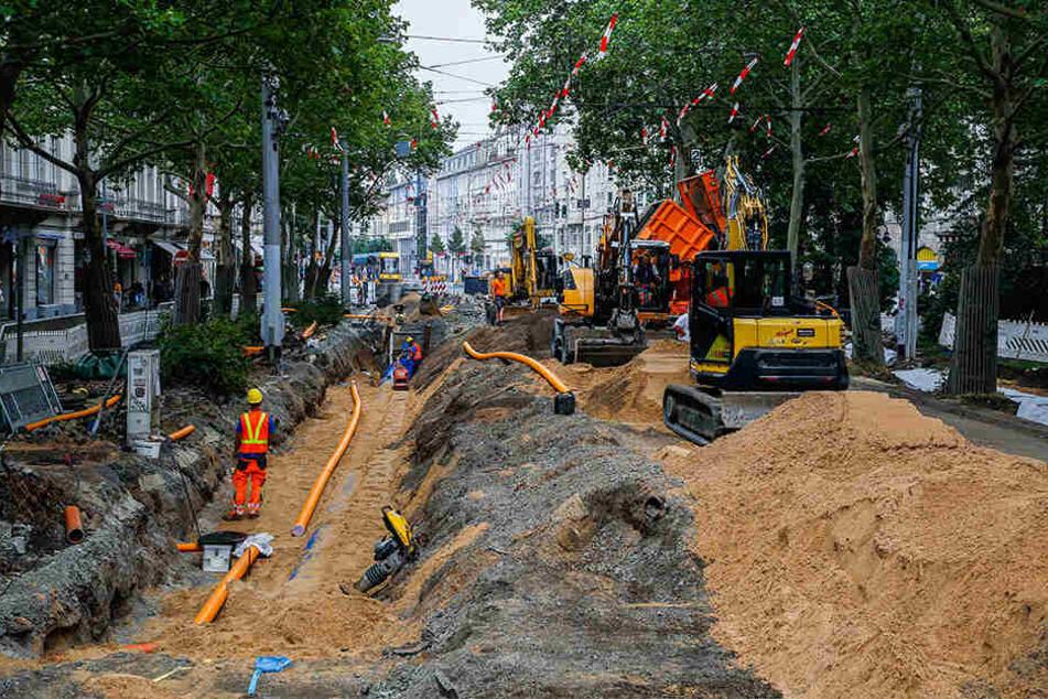 Die Bauarbeiten an der Bautzner Straße sind in vollem Gange.