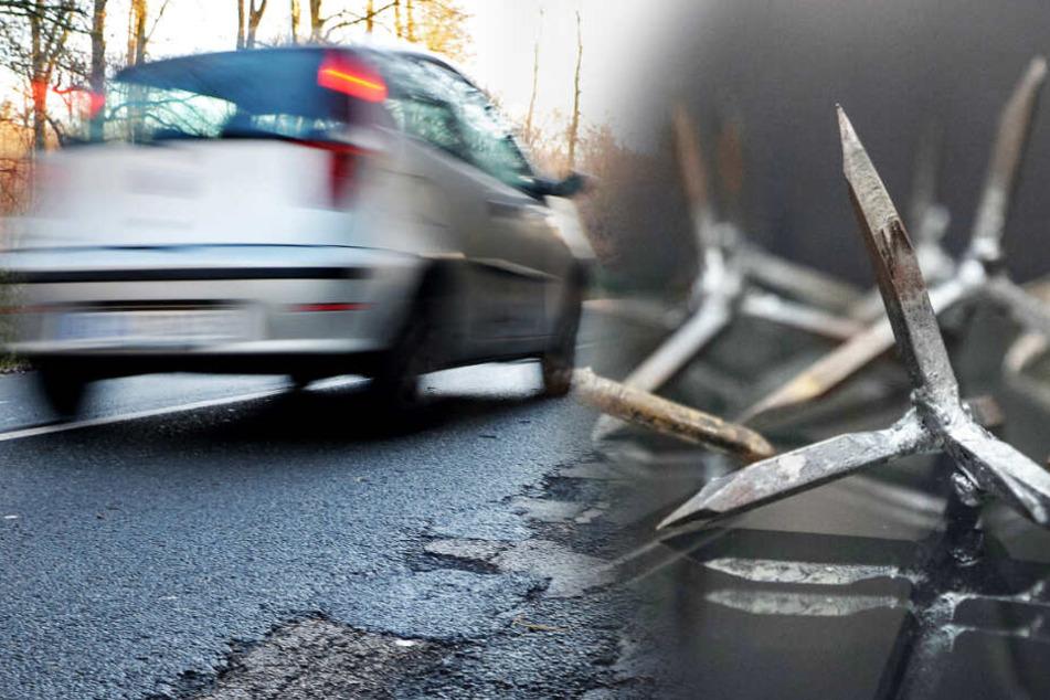 """Autofahrer in höchster Gefahr: Unbekannte verteilen """"Krähenfüße"""" auf Bundesstraße!"""